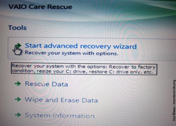 vaio recovery center windows 7